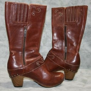 Dansko Brown Leather Tall Zippered Boots 8.5 - 9